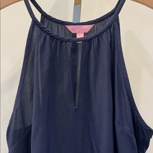 Lilly Pulitzer navy halter top with front keyhole